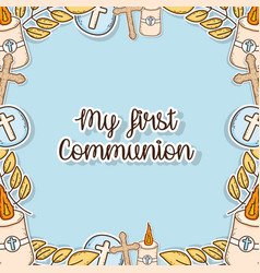 My first communion decoration event background vector