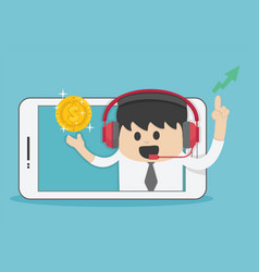 New idea bulb successful young businessman from vector