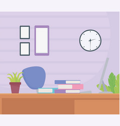 office workplace chair desk books frames clock vector image