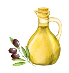 Olive oil in the bottle and a branch of olive wate vector