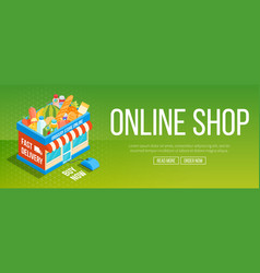 Online shop banner vector