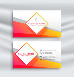 Orange and white business card design vector