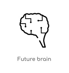 Outline future brain icon isolated black simple vector