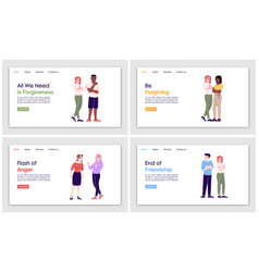 People behavior landing page template set vector
