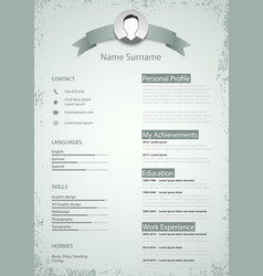 Professional colored resume cv in retro style vector
