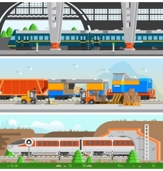 Rail Transport Horizontal Flat Banners vector