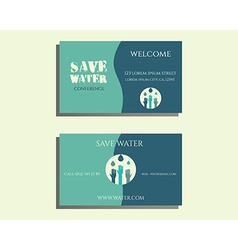 Save water conference visiting card template vector
