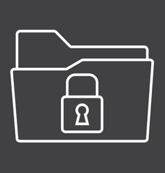 Secure data folder line icon security and padlock vector