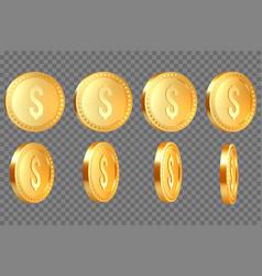 set of 3d realistic golden metallic dollar coins vector image