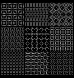 set of nine black and white seamless pattern vector image