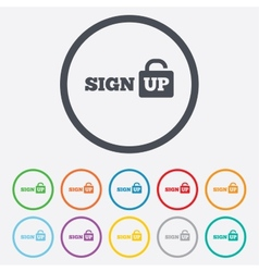 Sign up sign icon Registration symbol vector image