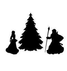 silhouette grandfather frost and snow maiden at vector image