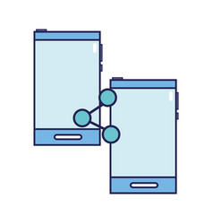 smartphones technology with share social connect vector image