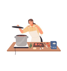 smiling female preparing tomato sauce to pasta vector image