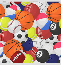 sport ball seamless pattern sporting equipment vector image