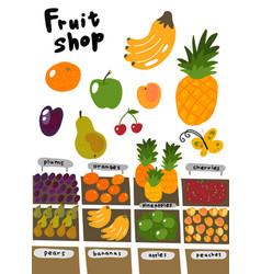 Street market fruits shop sketch set oranges vector