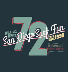 surfing t-shirt graphic design california surfers vector image