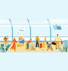 tourists with baggage suitcases in airport vector image