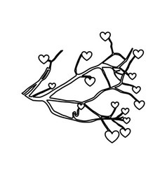 tree plant branches with heart icon vector image