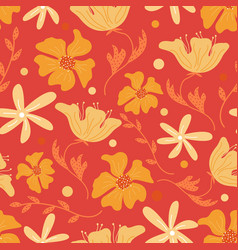 trendy floral seamless pattern with doodle vector image