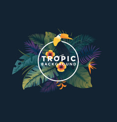 tropical background with frame 7 vector image