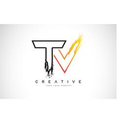 Tv creative modern logo design with orange and vector