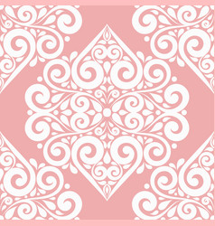 white and pink ornamental seamless pattern vector image