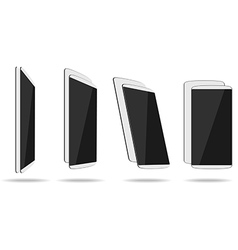 White thin smartphones face and back different vector