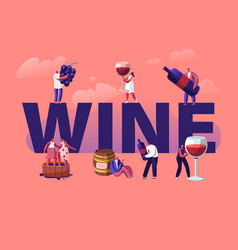 wine producing and drinking concept male and vector image