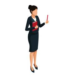 Woman teaching isometric 3d vector