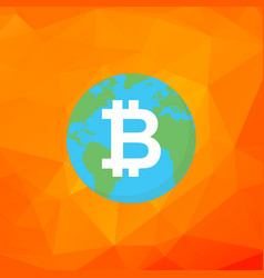 bitcoin sign bitcoin on earth flat vector image vector image