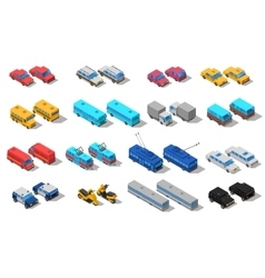 City Transport Isometric Icons Set vector image vector image