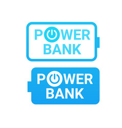 icons of power bank portable mobile battery device vector image vector image