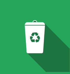 recycle bin flat icon with long shadow vector image