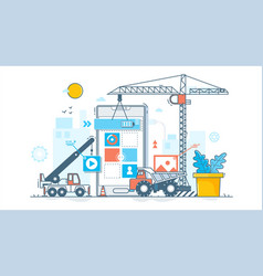 app development process construction of web vector image