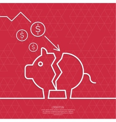 Broken pig piggy bank vector image vector image