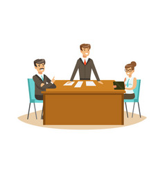 businesspeople discussing at meeting in an office vector image
