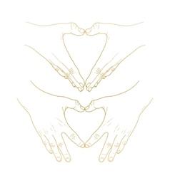 Graphic hands show heart vector