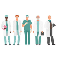 male doctor african american and caucasian doctor vector image