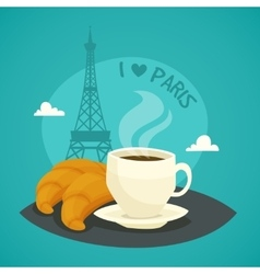 Cup Of Morning Coffee With Croissants vector image vector image