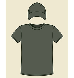 T-shirt and cap template vector image
