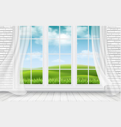 view of the countryside through window vector image vector image
