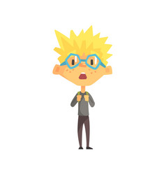 blond boy with spiky hair and glasses surprised vector image