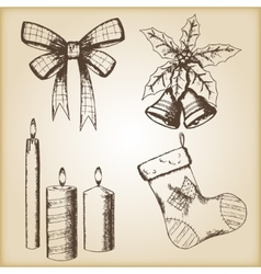 Christmas hand drawn - bow vector image vector image
