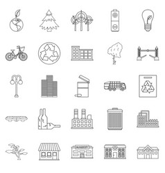 Clean city icons set outline style vector
