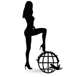 girl with planet travel silhouette vector image vector image