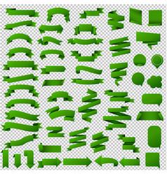 green web ribbon set vector image vector image