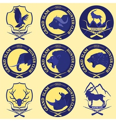 Hunting club label collecton grand safari logos vector