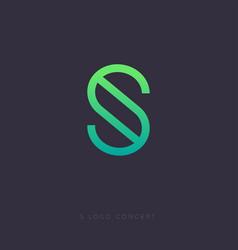 s logo letter linear emblem green vector image