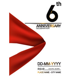 6 anniversary design with big red ribbon isolated vector